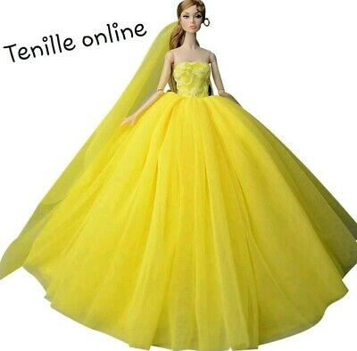 New Barbie doll clothes outfit princess wedding gown dress yellow shoes veil
