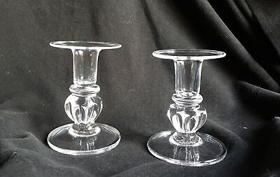 2 Simon Pearce Shelburne Candlesticks Hand Blown Glass Candle Holders  4""