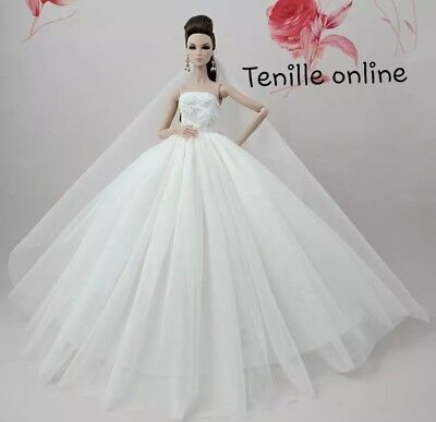 New Barbie doll clothes outfit princess wedding gown dress white shoes veil