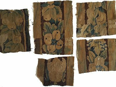 Five Early Tapestry Fragments with Flowers