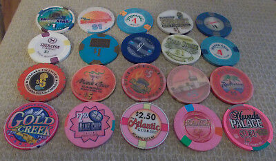 LOT OF 20 MIXED DENOMINATION CASINO  hotel gaming chips ~Various Locations (#3)