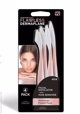 Flawless Dermaplane by Finishing Touch Set of 4 Women's Facial Exfoliators NEW
