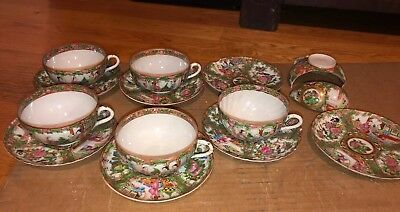 Lot Antique Chinese Rose Medallion Cups & Saucers 7 Saucers & 5 Cups