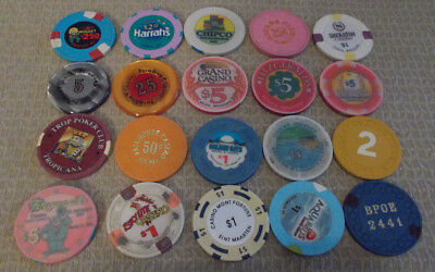 LOT OF 20 MIXED DENOMINATION CASINO  hotel gaming chips ~Various Locations (#5)
