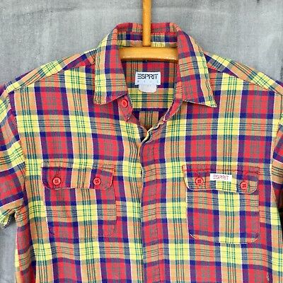 ESPRIT Kids Shirt Vintage 90s Bright Plaid Yellow Red Size 7/8