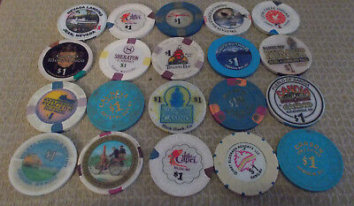 LOT OF 20 MIXED $1.00 CASINO  hotel gaming chips ~Various Locations (#7)