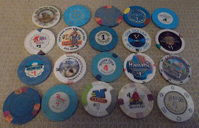 LOT OF 20 MIXED $1.00 CASINO  hotel gaming chips ~Various Locations (#8)