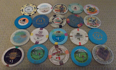 LOT OF 20 MIXED $1.00 CASINO  hotel gaming chips ~Various Locations (#9)