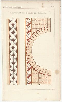 1849 Engraved Plate - Medieval Architectural Details - Romanesque Colored Panel