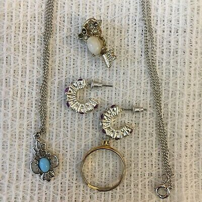 Antique Vintage Mixed Jewelry lot 4 necklace, a pair of earrings, Pin, and Ring