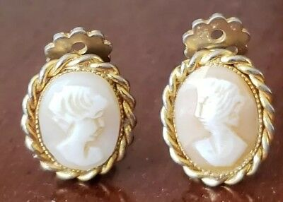 Vintage Antique Pair Of Real Shell Cameo Clip Earrings
