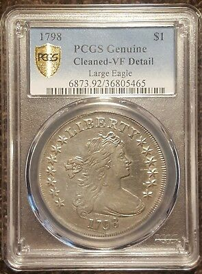 1798 Draped Bust Large Eagle Silver Dollar, SECURE GOLD SHIELD PCGS VF Details