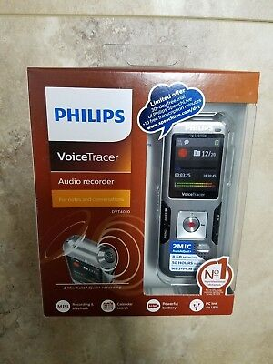 BRAND NEW Philips VoiceTracer Audio Recorder DVT4010, 8 GB