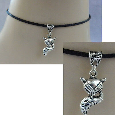 Fox Choker Necklace Silver Handmade Jewelry Chain Pendant Fashion NEW Black