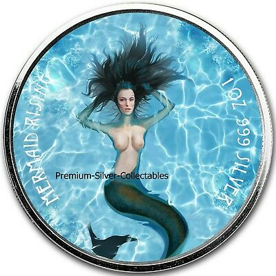 2018 Fiji Mermaid Rising -  1 Ounce Pure Silver Colorized Coin Series !