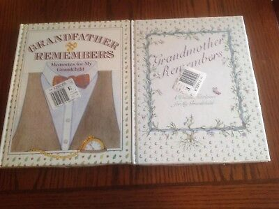 GRANDFATHER REMEMBERS and GRANDMOTHER REMEMBERS For My Grandchild 2 SEALED HC's