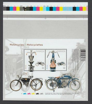 MOTORCYCLES 1914 INDIAN & 1908 CCM = S/S pos.3 from UnCut sheet Cana 2013 #2646i