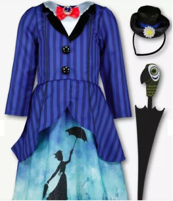Kids Disney Mary Poppins Blue Fancy Costume 3 Part Set (3-10 years)