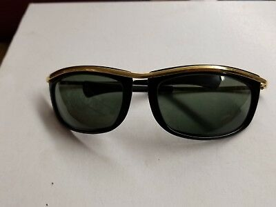 Vintage B&L Ray-Ban USA OLIMPIAN I 4 3/4 Gold Black Sunglasses by Bausch & Lomb