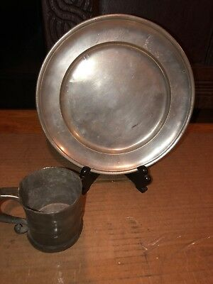 Very Early 19th Century Antique Pewter Plate Hallmarked Ferd Bagge + Cup Mug