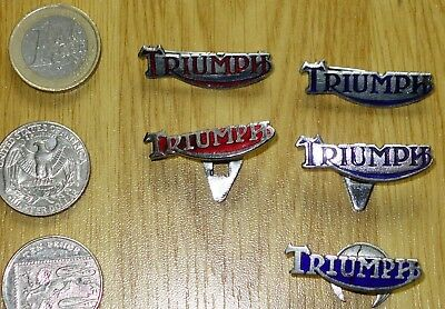 5x 1960s TRIUMPH (British) enamel motorcycle bike badge lapel