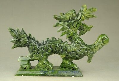 Green natural jade Chinese hand-carved Dragon statue good luck b02