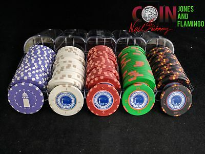 Set Of 100 Lighthouse Casino Gambling Poker Chips 20 Each Of 5 Colors #20905