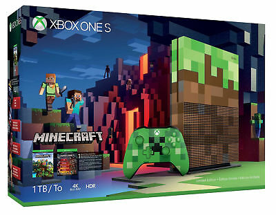Microsoft Xbox One S Minecraft Limited Edition Bundle 1TB Green & Brown Console