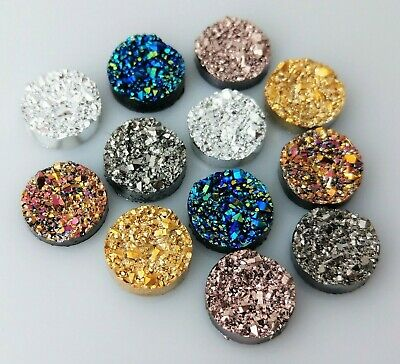 Mixed 12mm Cabochons 12pc Druzy Resin Gold Silver Fuchsia Earring Supplies FBC30