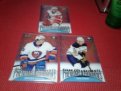 2018-19 UD Tim Hortons Clear Cut Phenoms Lot of 3 Cards, Barzal-Eichel-Larkin