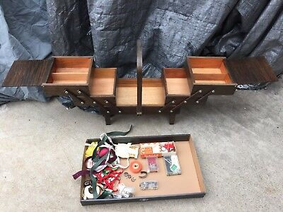 Vintage Singer Accordion Sewing Box 3 Tier Fold Out Expandable