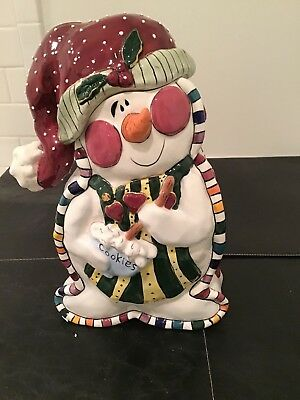 2003 Blue Sky Clayworks--- Snowman Cookie Jar w/  Recipes on Back---- NEW IN BOX
