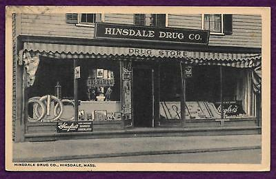 1918 Postcard Hinsdale Drug Store Hinsdale Ma Huylers Candy Sign