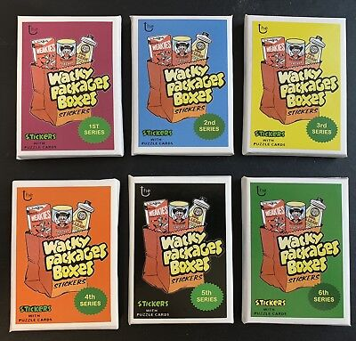 Lost Wacky Packages Box Stickers Complete Sets Sealed Series 1-6 Packs