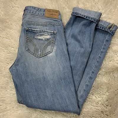 Women's Hollister Skinny Jeans  Distressed Ripped NON- STRETCH Size 00 W23