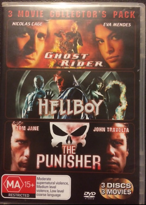 Ghost Rider/Hellboy/Punisher  Region 4  3 x DVD's Very Good Condition