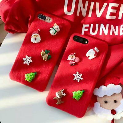 Christmas Red Plush 3D Santa Snow Case Cover For iphone XS MAX XR 6/6S 7 8 Plus