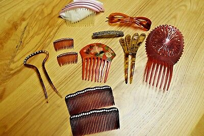 Lot Antique Vintage Ornate  Hair Combs Barrettes Celluloid Rhinestones Painted