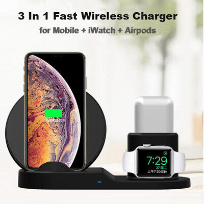 Qi Wireless 3 in1 Fast Charger Pad For Samsung Apple Watch AirPods iPhone Xs Max