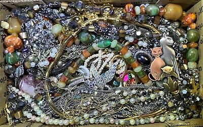 Huge Vintage - Now Jewelry Lot Estate Find Junk Drawer UNSEARCHED UNTESTED #119
