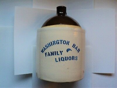 Old*Antique*Vintage*WASHINGTON BAR*LIQUORS*Whiskey*Jug*Crock*Spokane WA.*NICE*