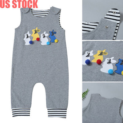 My 1st Easter Baby Boy Girl Unisex Bunny Long Romper Jumpsuit Playsuit Outfit US