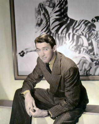 "JAMES STEWART MOVIE STAR HOLLYWOOD ACTOR zebra 8x10"" HAND COLOR TINTED PHOTO"