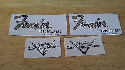 2 Vintage style 65 T guitar headstock decal & 2 custom shop logo
