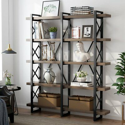 Industrial 3/4/5Tier Bookshelves Metal & Wood Open Bookcase Antique Nutmeg Hot