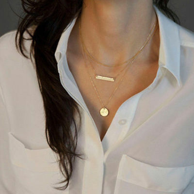 Multilayer Fashion Women Alloy Clavicle Choker Necklace Charm Chain Jewelry