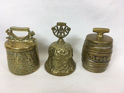 Three Brass Bells Different Shapes Two Are Barrel Shape