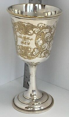 Antique Engraved Silver Wine Goblet Triple Plate Gillespie