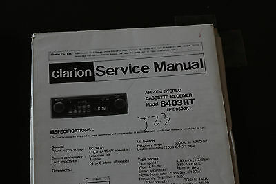 Clarion 8403RT AM FM Shafted CASSETTE CAR STEREO Original SERVICE Manual