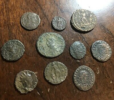 Group Lot of 10 Authentic Ancient ROMAN Coins Collection 200-400 AD Lot 2